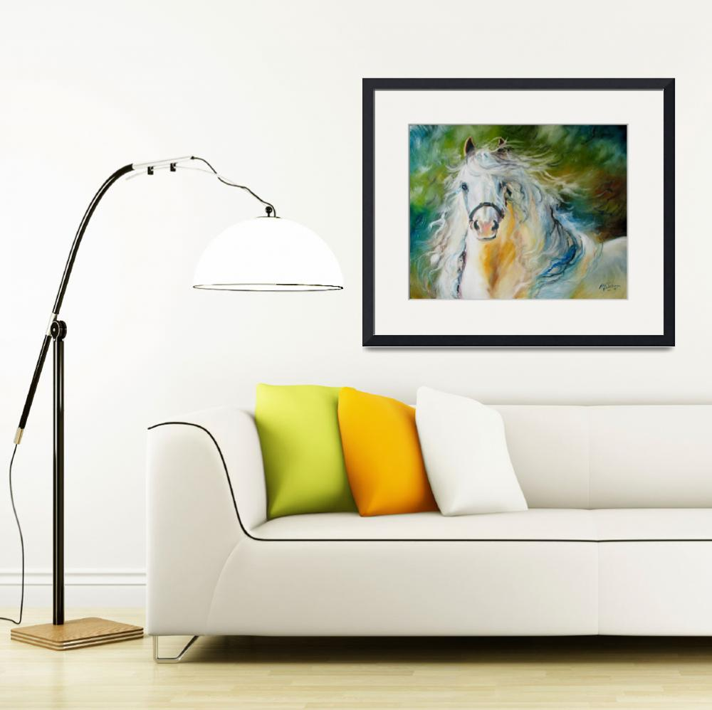 """""""CLOUD the White Andalusian&quot  (2009) by MBaldwinFineArt2006"""