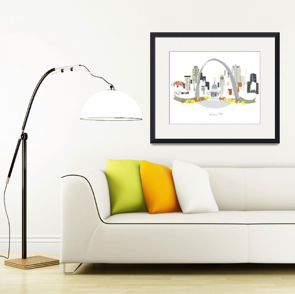 """St. Louis Modern Cityscape Illustration&quot  by AlbieDesigns"