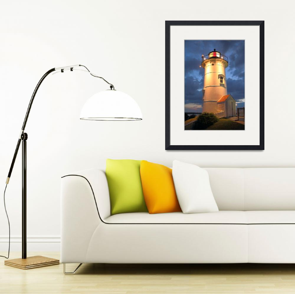 """Nobska Point Lighthouse at Night&quot  (2010) by RoupenBaker"