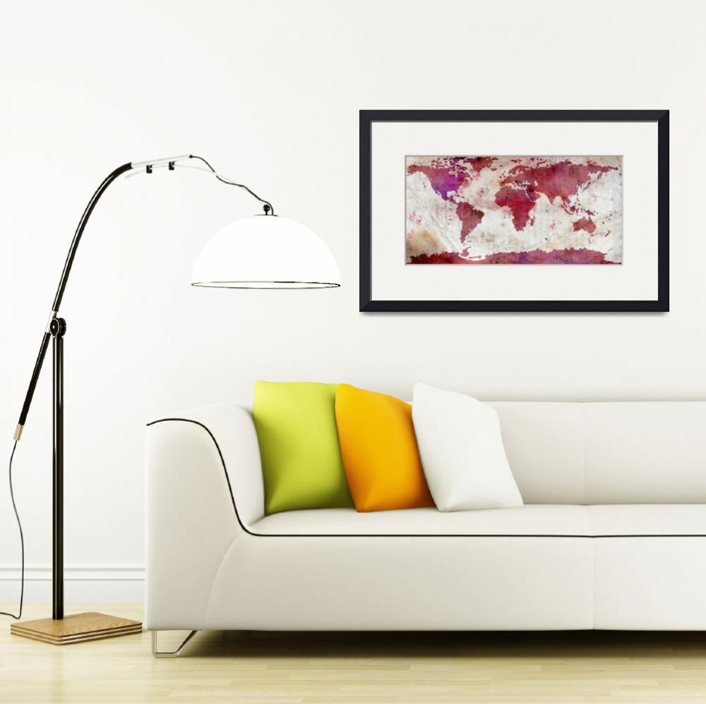 """""""World Map Watercolor-5&quot  by WrightFineArt"""