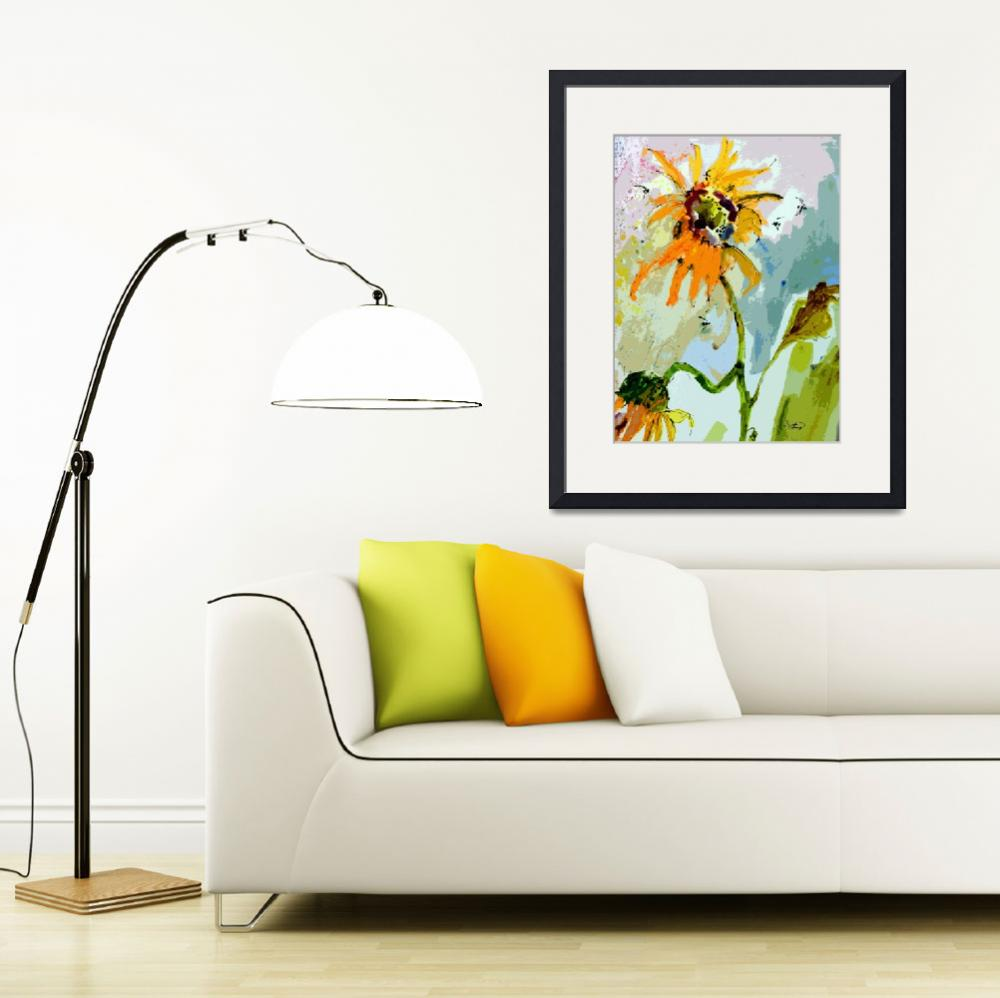 """Modern Sunflower and Bees Art&quot  (2013) by GinetteCallaway"