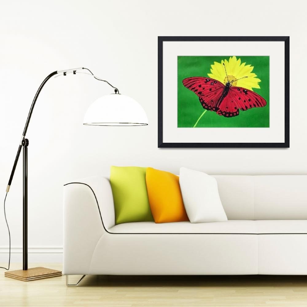 """""""Red Butterfly on yellow flower.&quot  (2018) by GordRussellArt"""