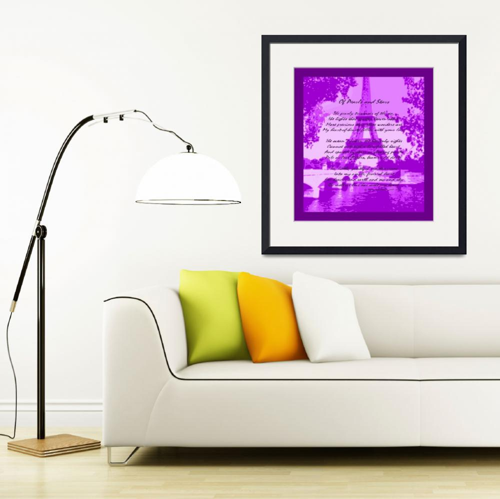 """""""Of Pearls & Stars Eiffel Tower Seine River Violet&quot  (2013) by TheNorthernTerritory"""