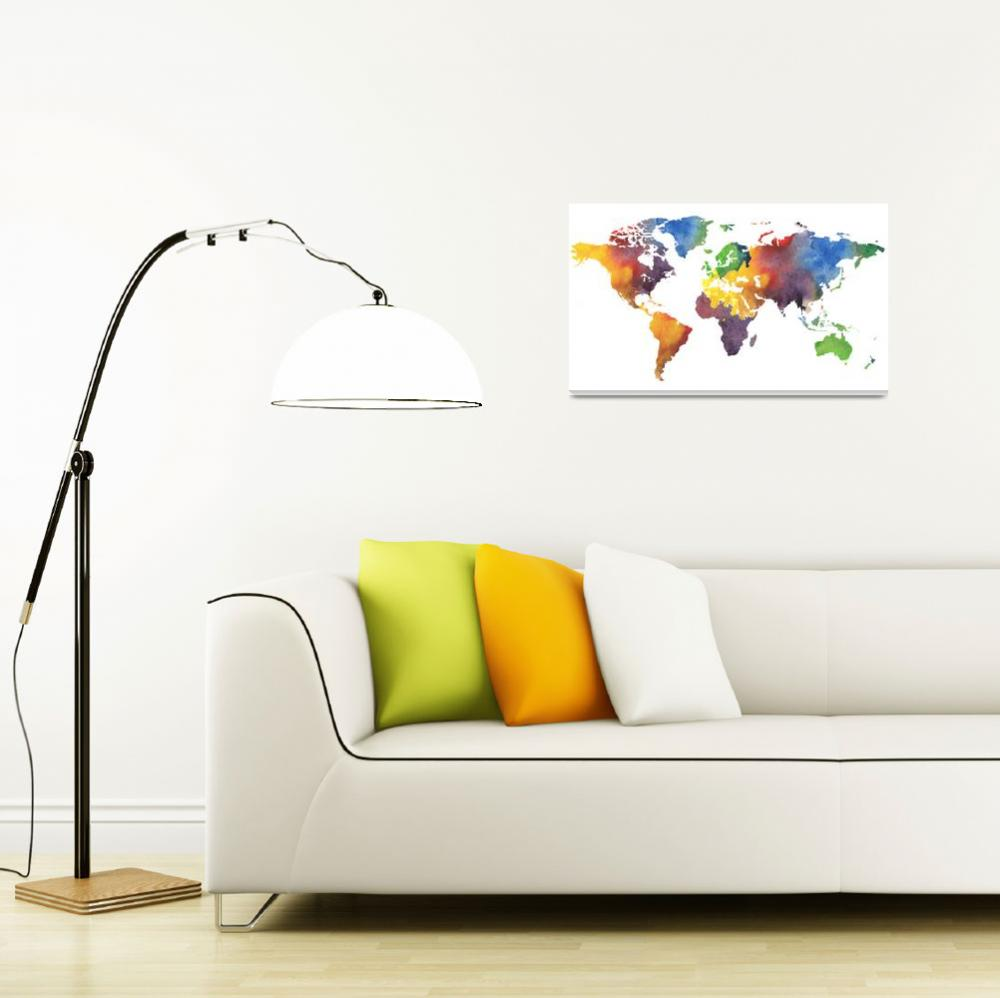 """Watercolor Map Of The World&quot  (2017) by IrinaSztukowski"