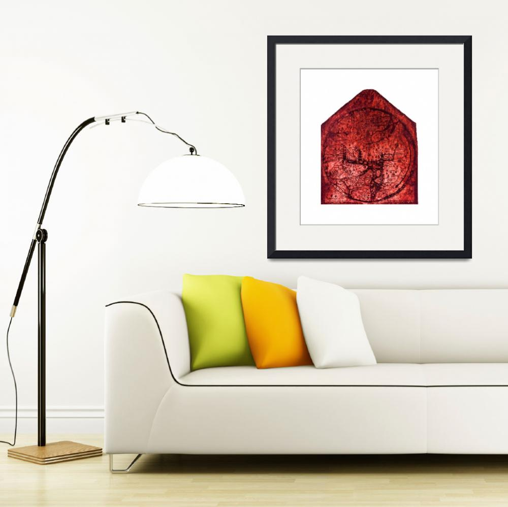 """Hereford Mappa Mundi Red Tint Largest White Border&quot  (2014) by TheNorthernTerritory"