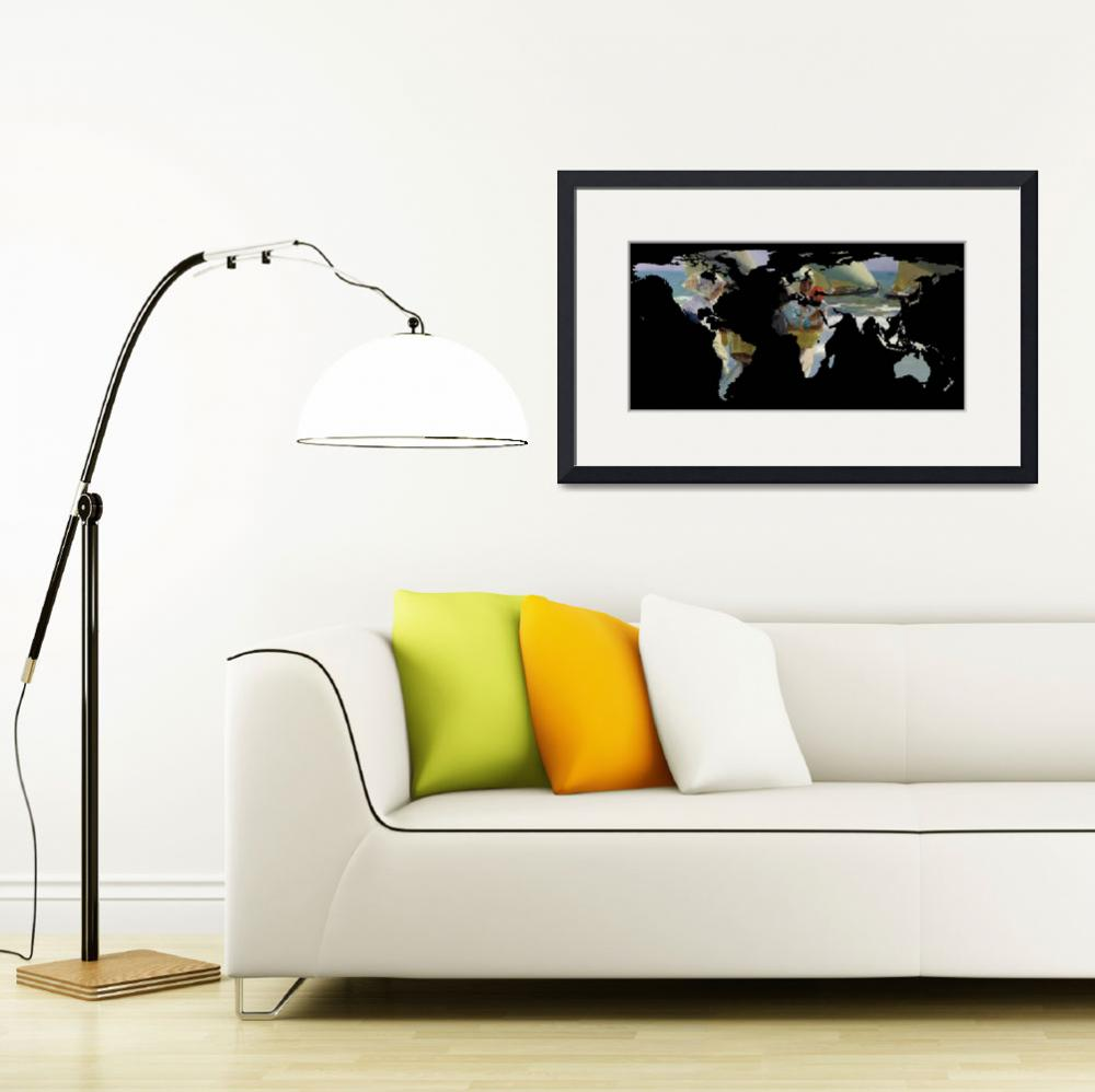 """World Map Silhouette - Women and Sailboats&quot  by Alleycatshirts"