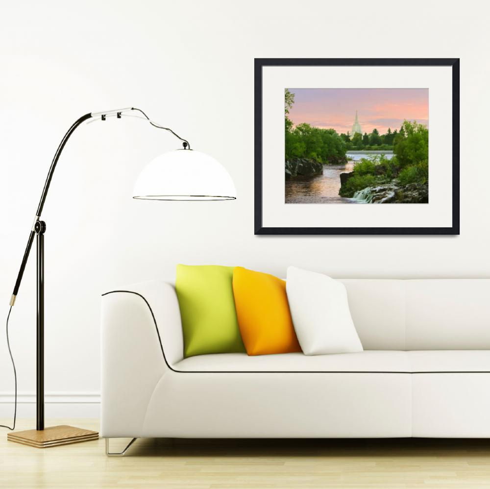 """""""20x24 Waterfall Sunrise Idaho Falls Temple&quot  by lightvoyages"""