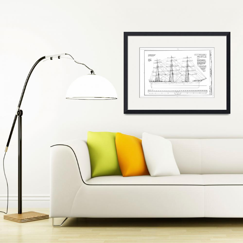 """""""Balclutha Ship Outboard Profile Diagram&quot  by Alleycatshirts"""