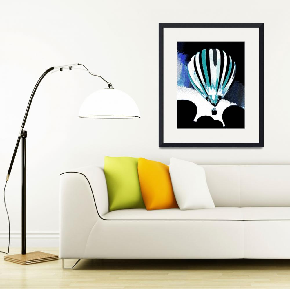 """""""Stripe Hot Air Balloon Teal&quot  (2012) by psovart"""
