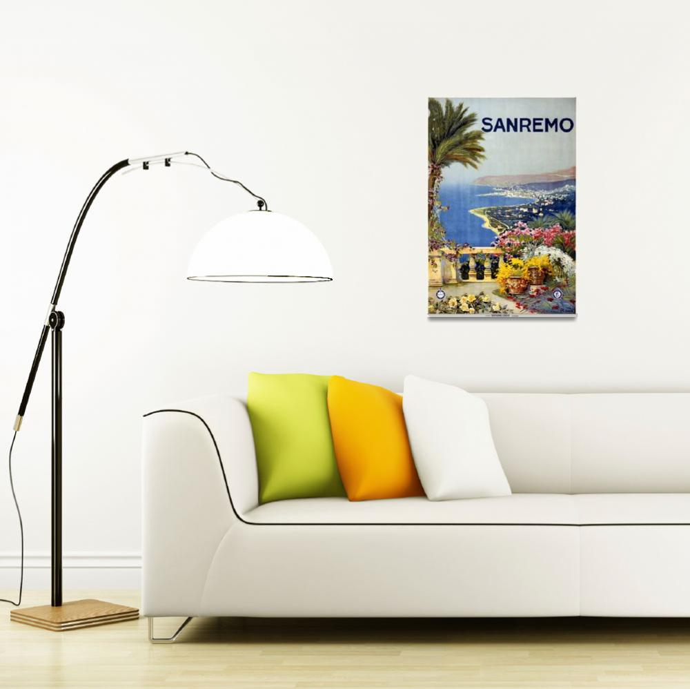 """""""Sanremo, Italy Vintage Travel Poster""""  by FineArtClassics"""