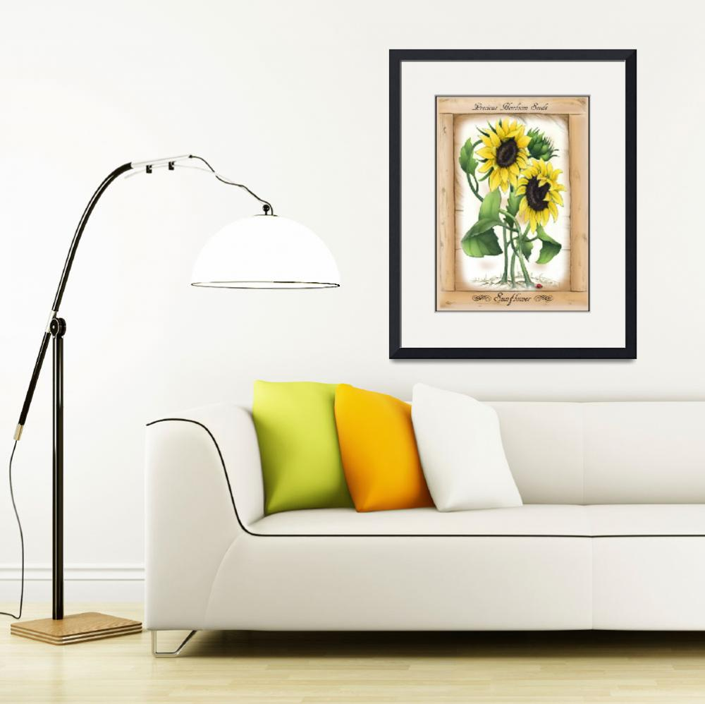 """""""Vintage_Rustic_Sunflowers, Precious_Heirloom_Seeds&quot  (2013) by BizzyBzzz"""