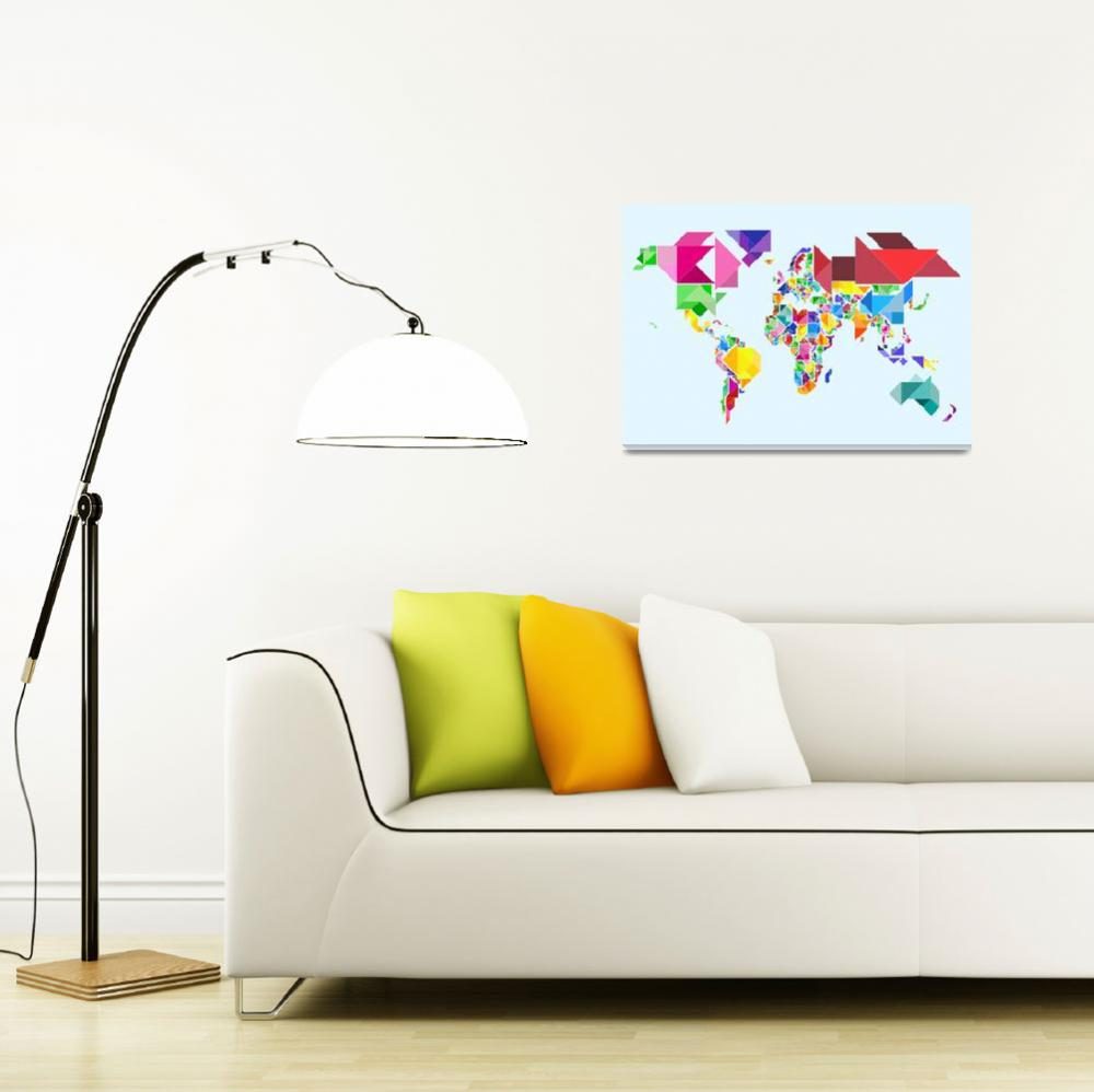 """Tangram Abstract World Map&quot  (2011) by ModernArtPrints"