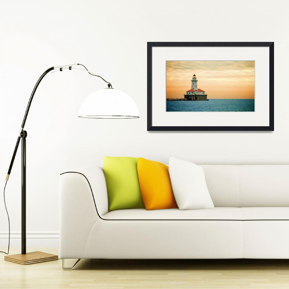 """""""Chicago Harbor Lighthouse, Sunset&quot  (2008) by jchalmer"""