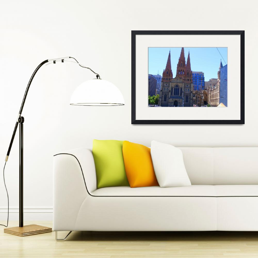 """Cathedral in Downtown Melbourne&quot  (2008) by davidflurkey"