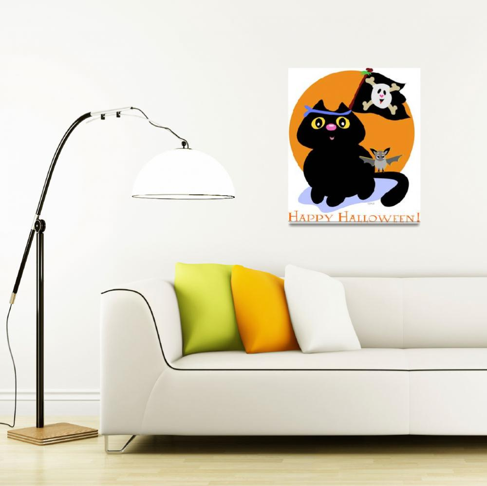 """""""Halloween Cat with Pirate Skull Flag and Bat""""  (2009) by theblueplanet"""