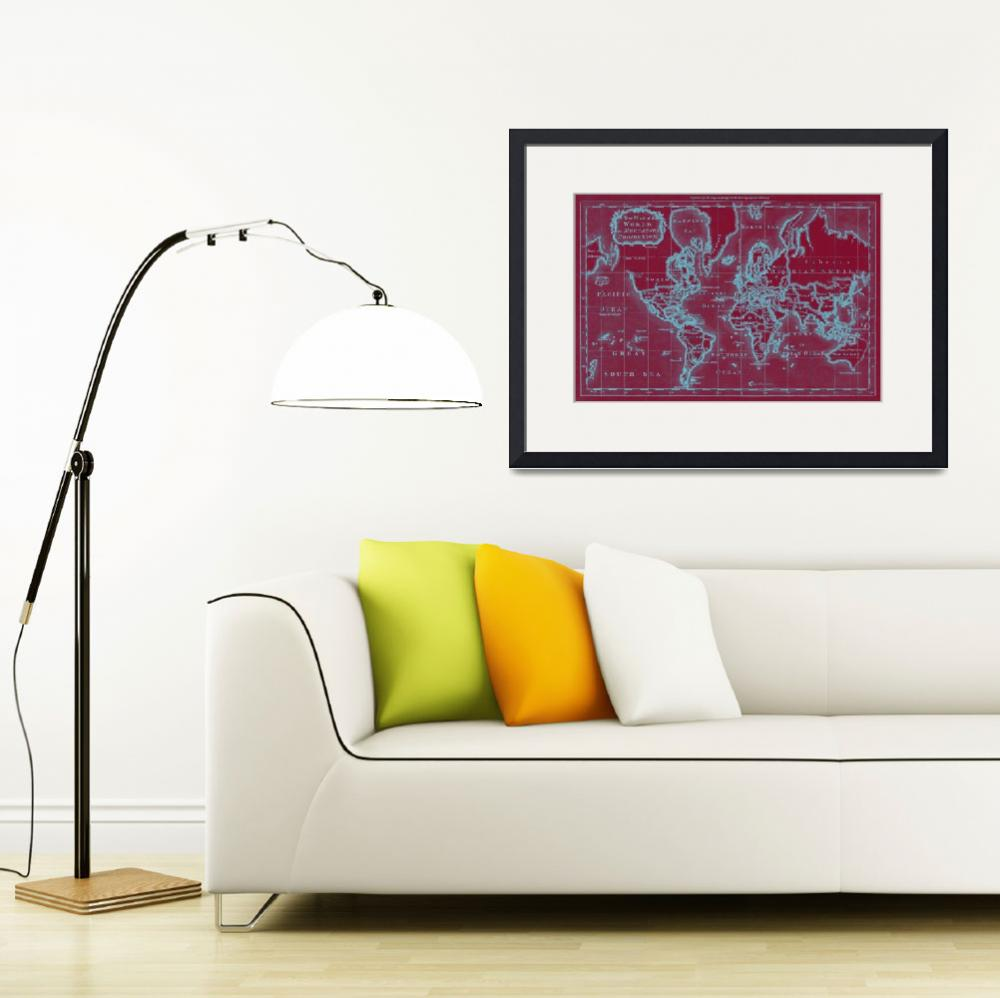 """""""World Map (1766) Red & Light Blue&quot  by Alleycatshirts"""