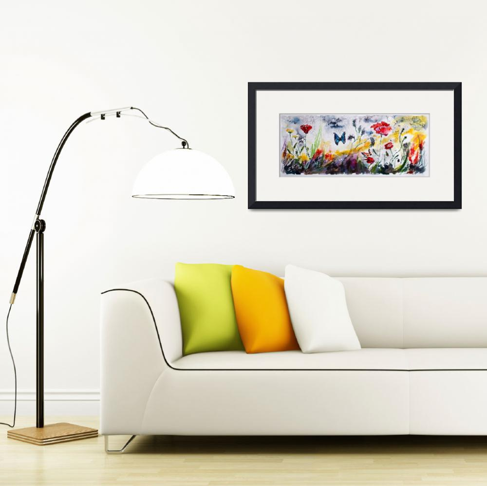 """""""Panoramic Poppies and Butterflies Watercolor&quot  (2016) by GinetteCallaway"""