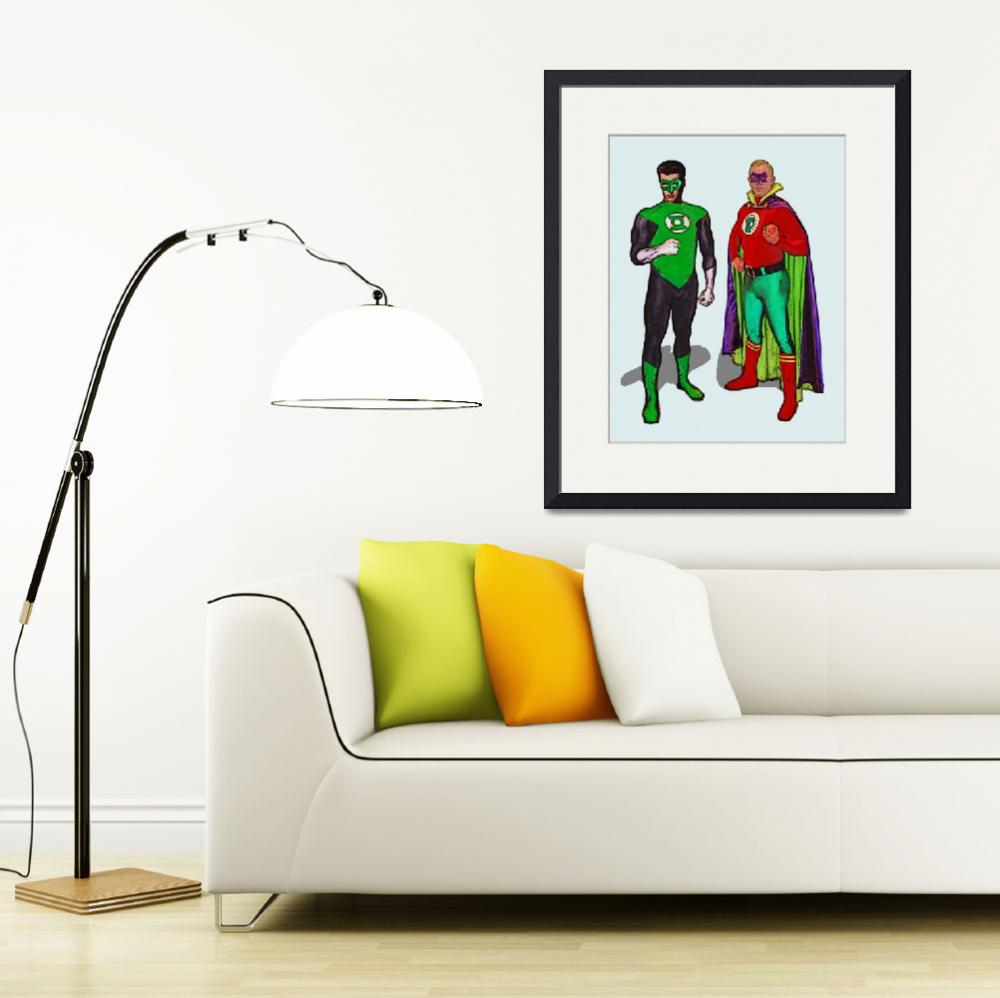 """Silver and Golden Age Green Lanterns Poster""  (2016) by Automotography"