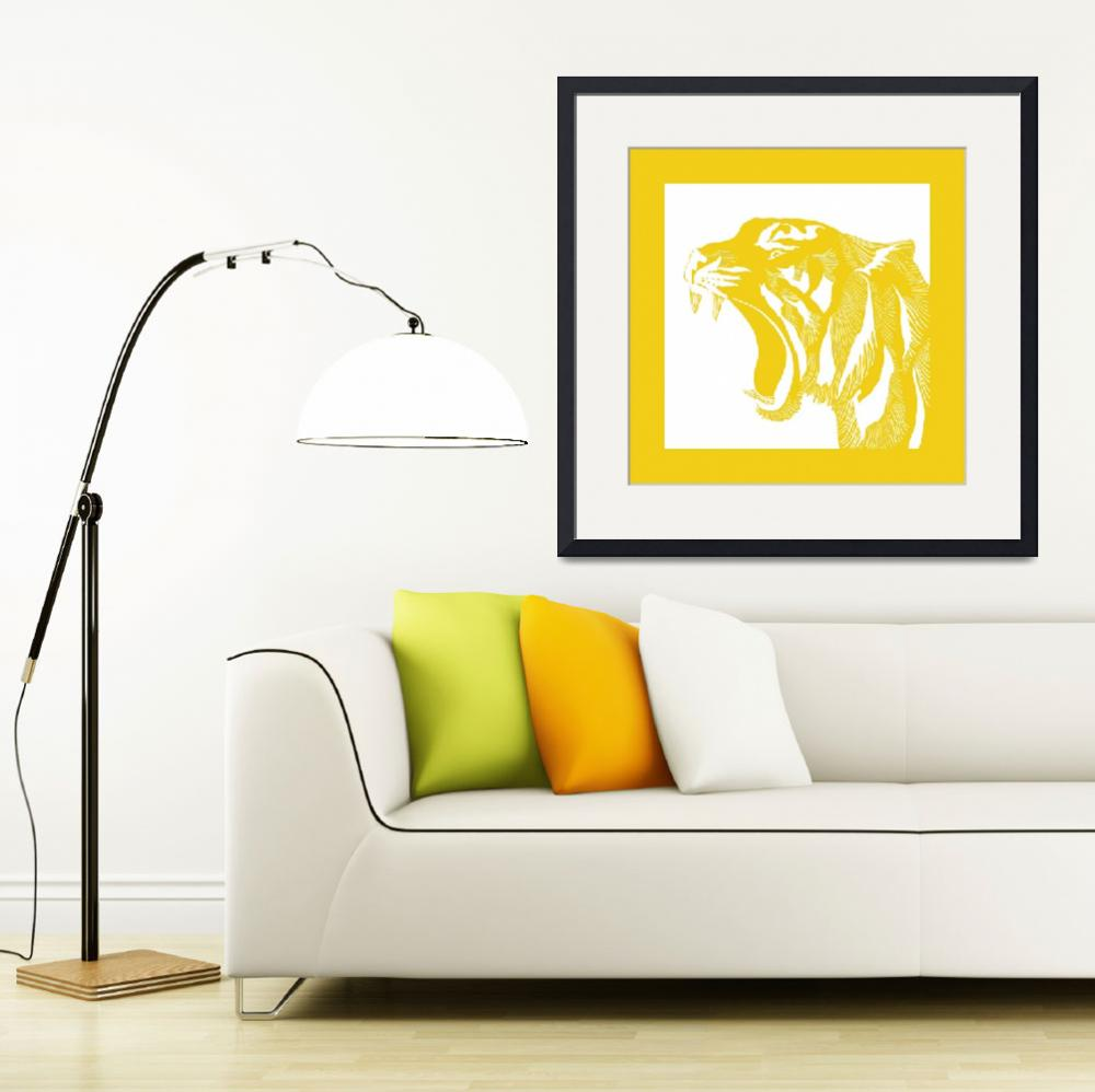 """""""Linocut Yellow Tiger""""  (2016) by SusanBerryDesign"""
