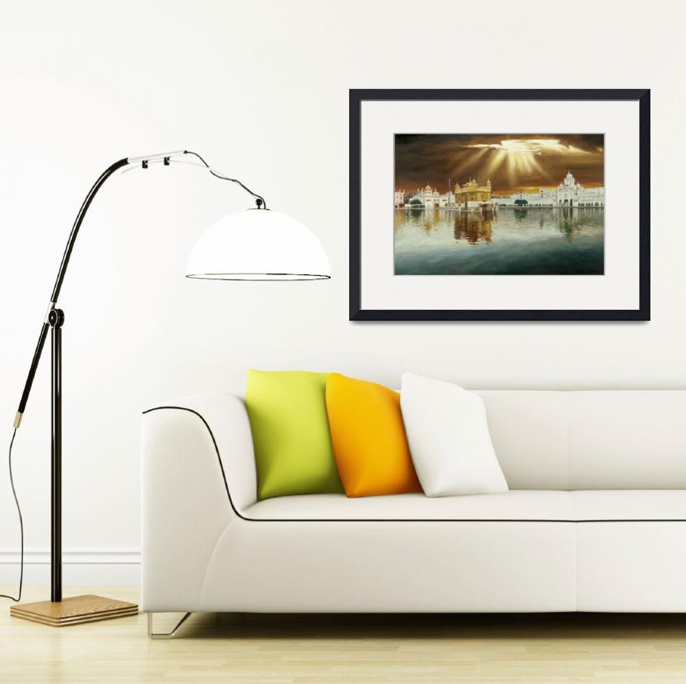 """""""Golden Temple Sunset Painting&quot  by SikhPhotos"""