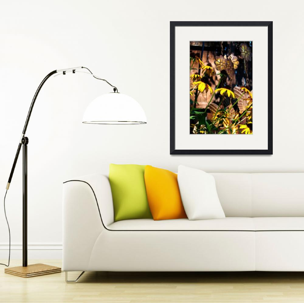 """""""Black Eyed Susan Flowers with Wind Chime""""  (2010) by meaganjdesign"""