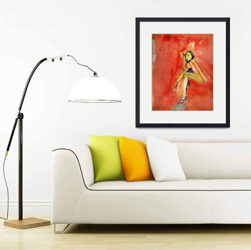 """woman in the red&quot  (2011) by JunCoArt"