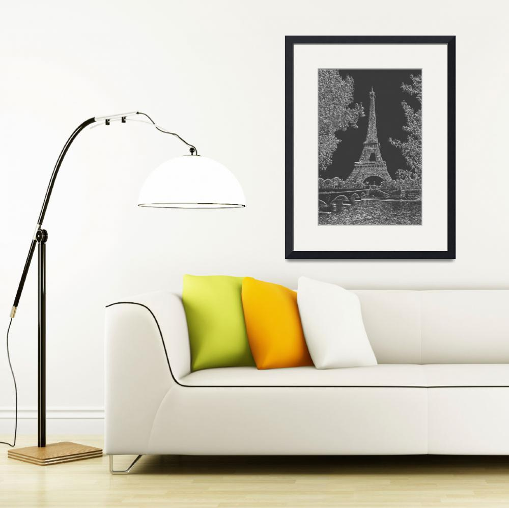 """Eiffel Tower Seine RIver Light Grey Charcoal""  (2013) by TheNorthernTerritory"