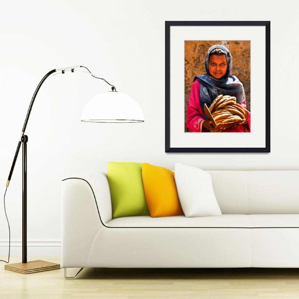"""""""Egyptian girl with pita, Luxor&quot  (2010) by ileneperlman"""
