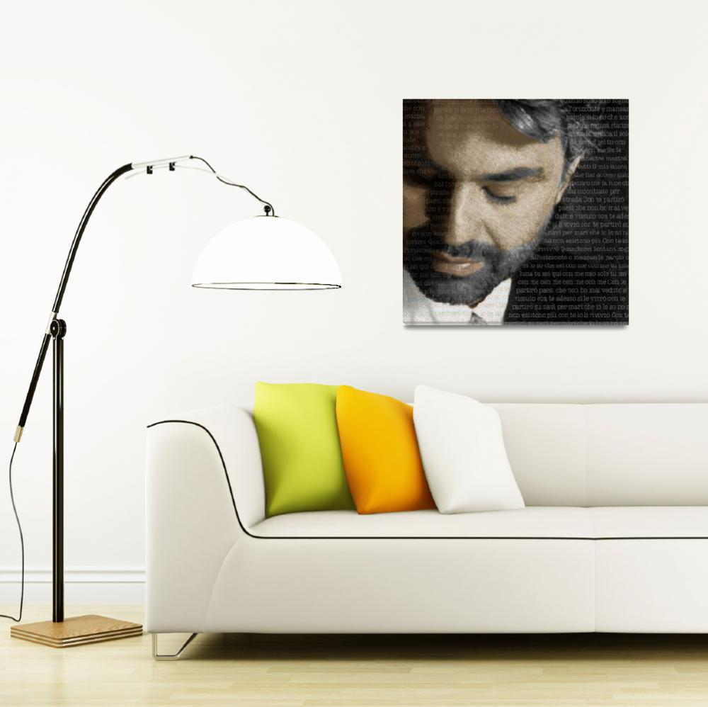 """""""Andrea Bocelli And Lyrics Square&quot  (2015) by RubinoFineArt"""