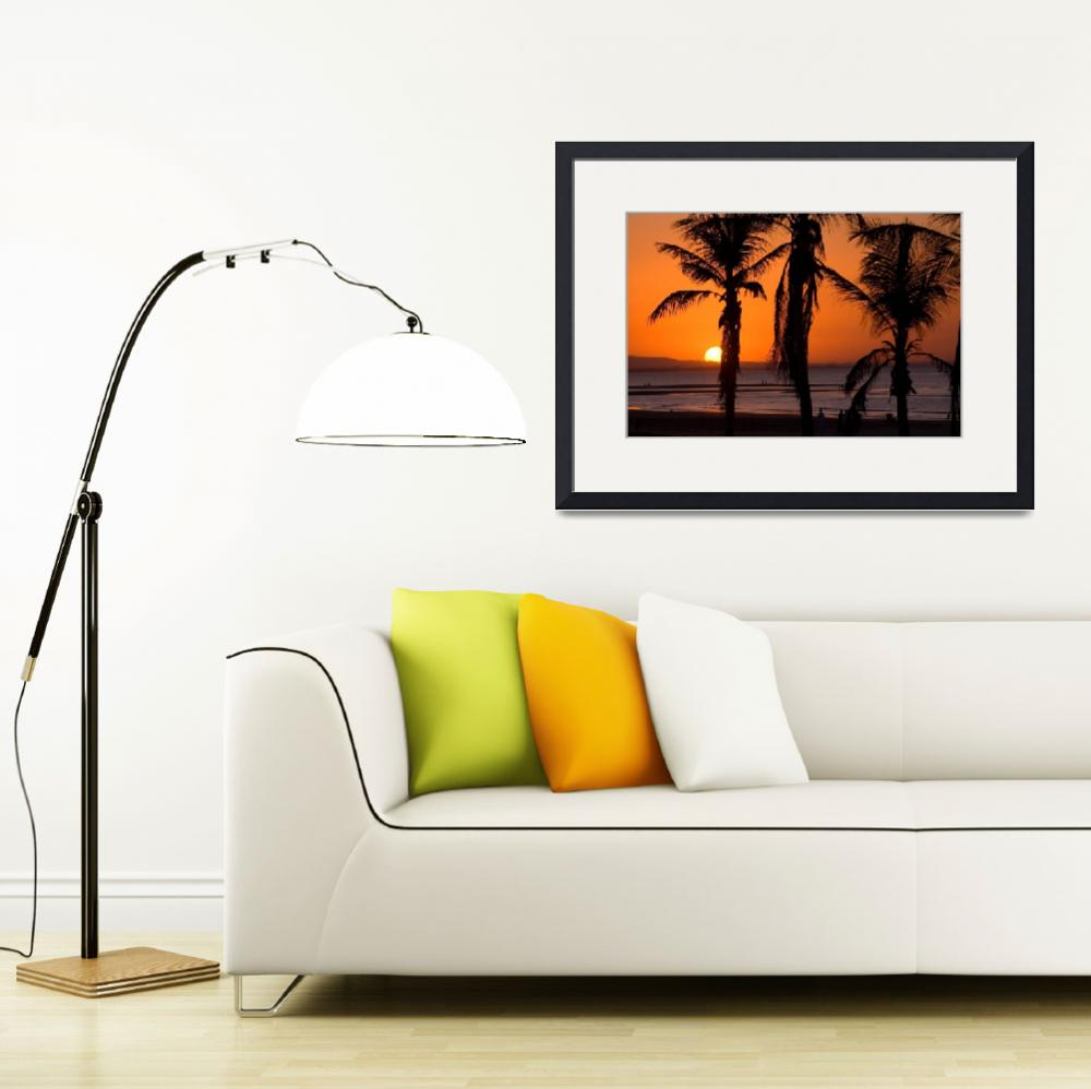 """""""Silhouetted Palm Trees at Sunset&quot  (2007) by dennisflood"""