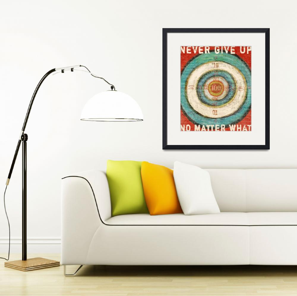 """VINTAGE DART BOARD - BULLSEYE - NEVER GIVE UP&quot  (2008) by lisaweedn"