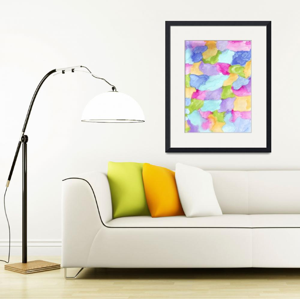 """""""Green Blue Pink Yellow Purple Water Color&quot  (2017) by ValeriesGallery"""
