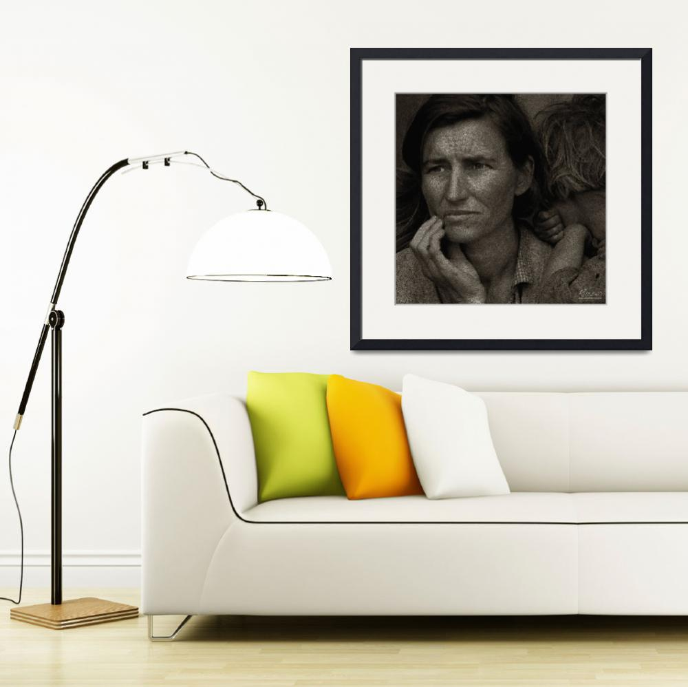 """""""Woman and Child Drawing From Dorothea Lange Photo&quot  (2013) by RubinoFineArt"""
