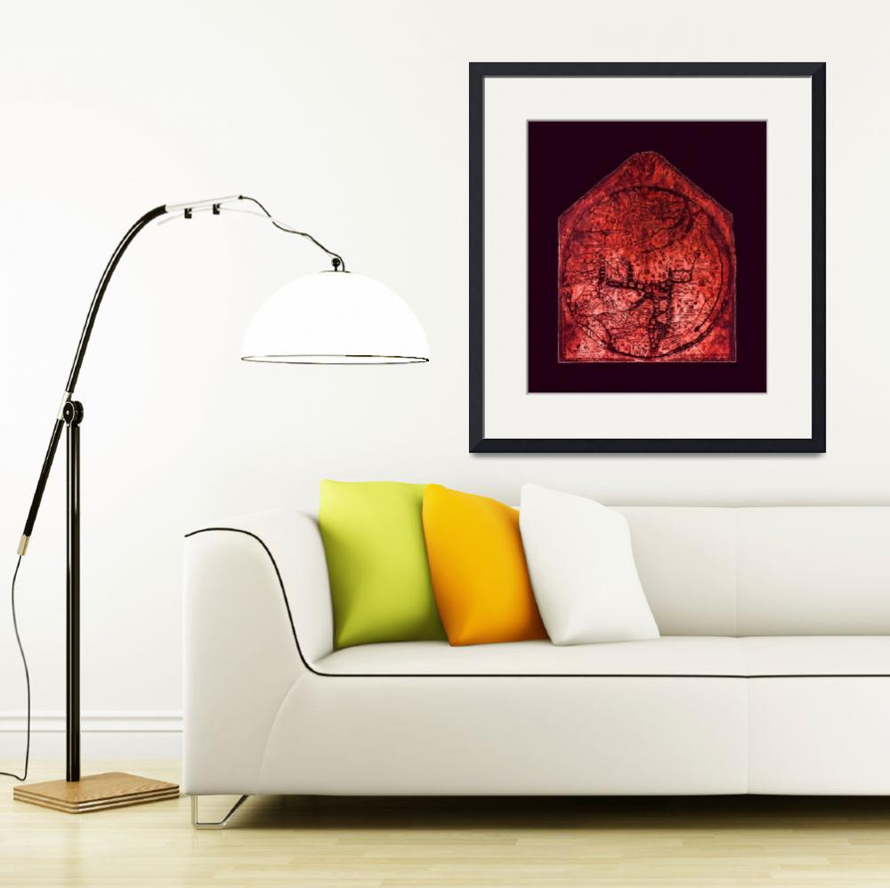 """""""Hereford Mappa Mundi Red Tint Larger Violet Border&quot  (2014) by TheNorthernTerritory"""