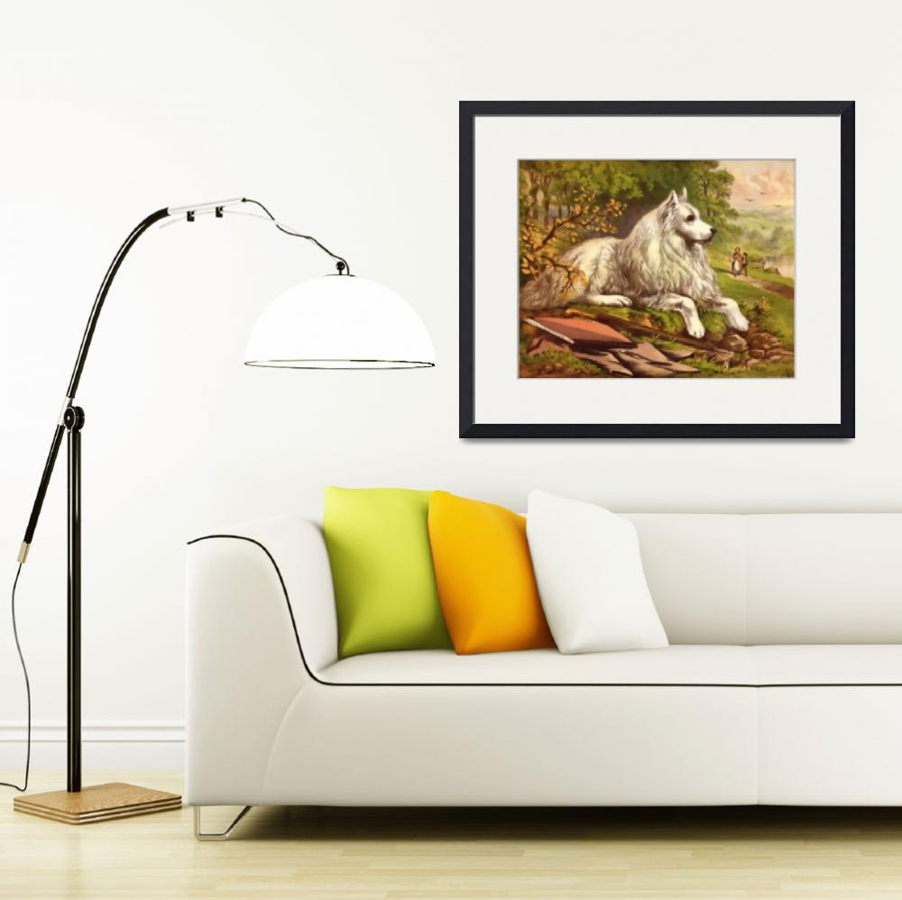 """White dog&quot  (2013) by bandtdigitaldesigns"