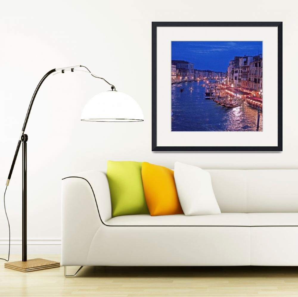 """Canale Grande view of Rialto bridge at night&quot  (2012) by arthop77"
