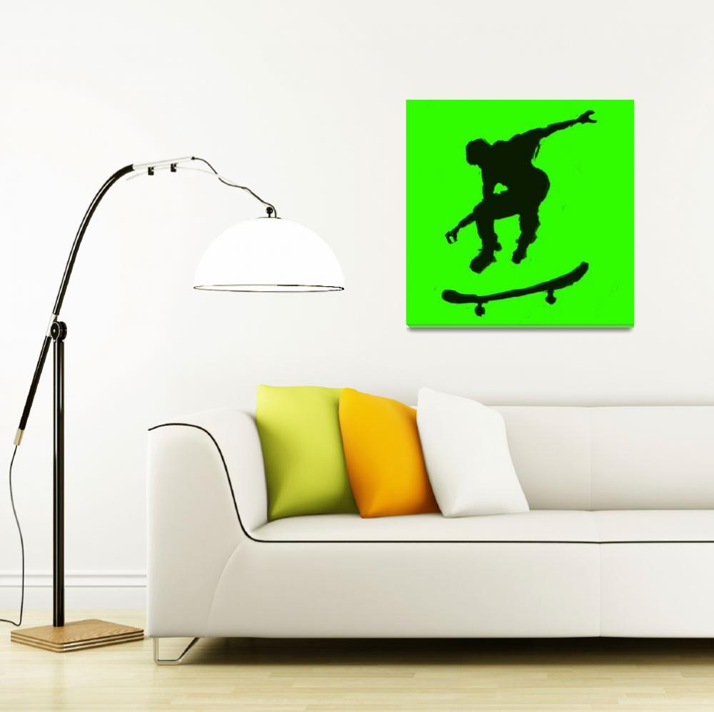 """""""Skateboarder 3 . green yellow (c)&quot  (2014) by edmarion"""