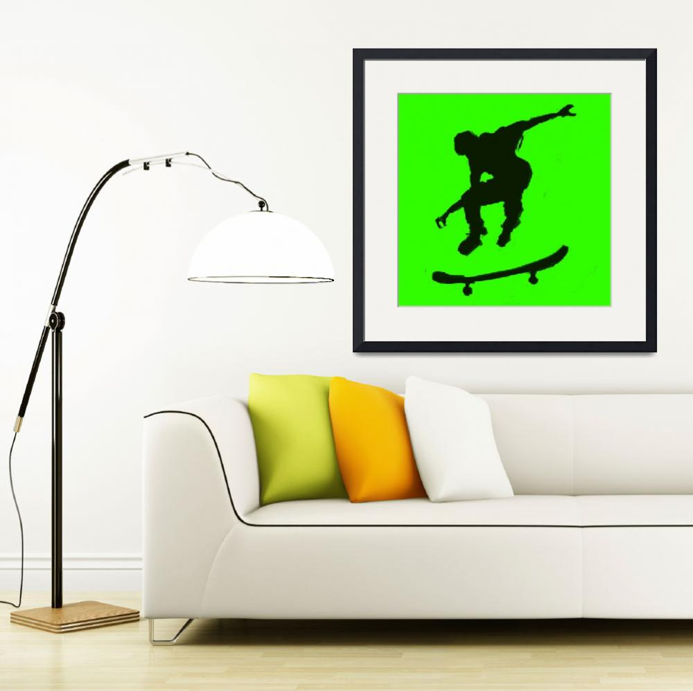 """Skateboarder 3 . green yellow (c)&quot  (2014) by edmarion"