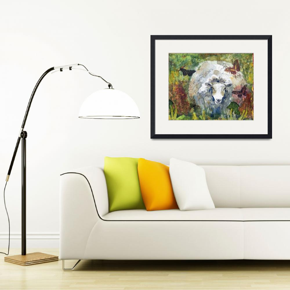 """Peaceful Pasture, Sheep Print""  (2012) by schulmanart"