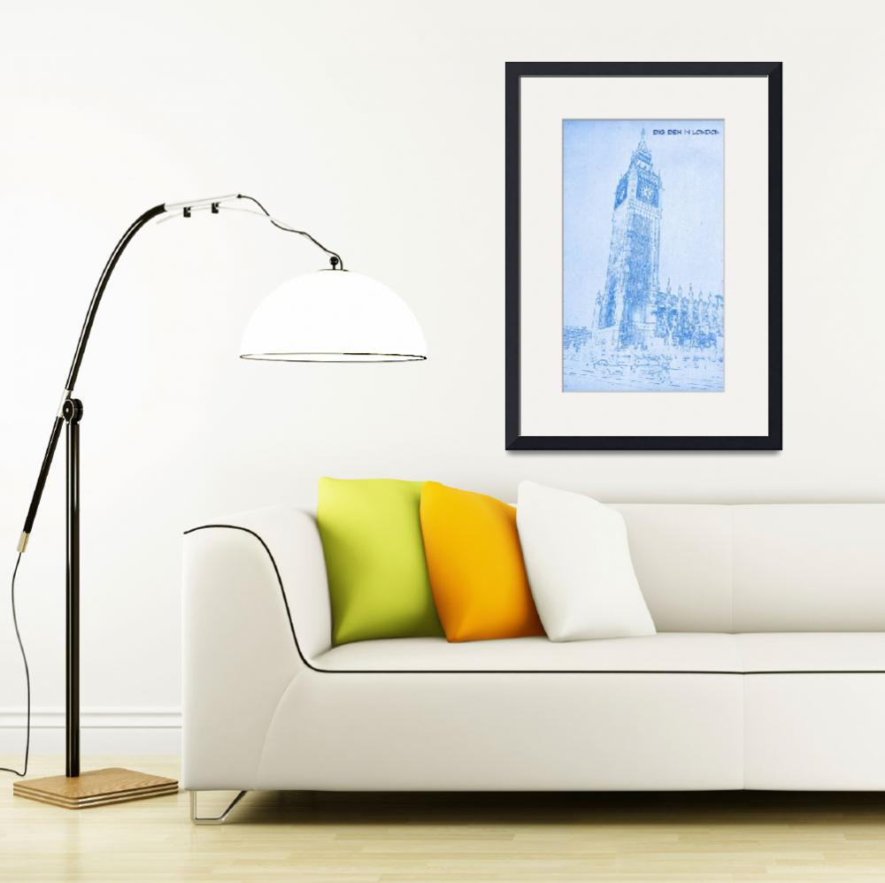 """""""Big Ben in London  - BluePrint Drawing&quot  by motionage"""