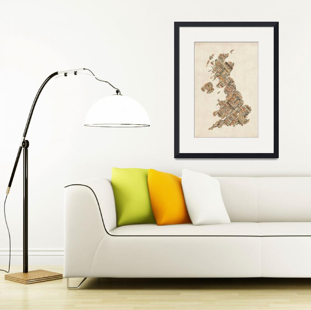 """Great Britain UK City Text Map&quot  by ModernArtPrints"