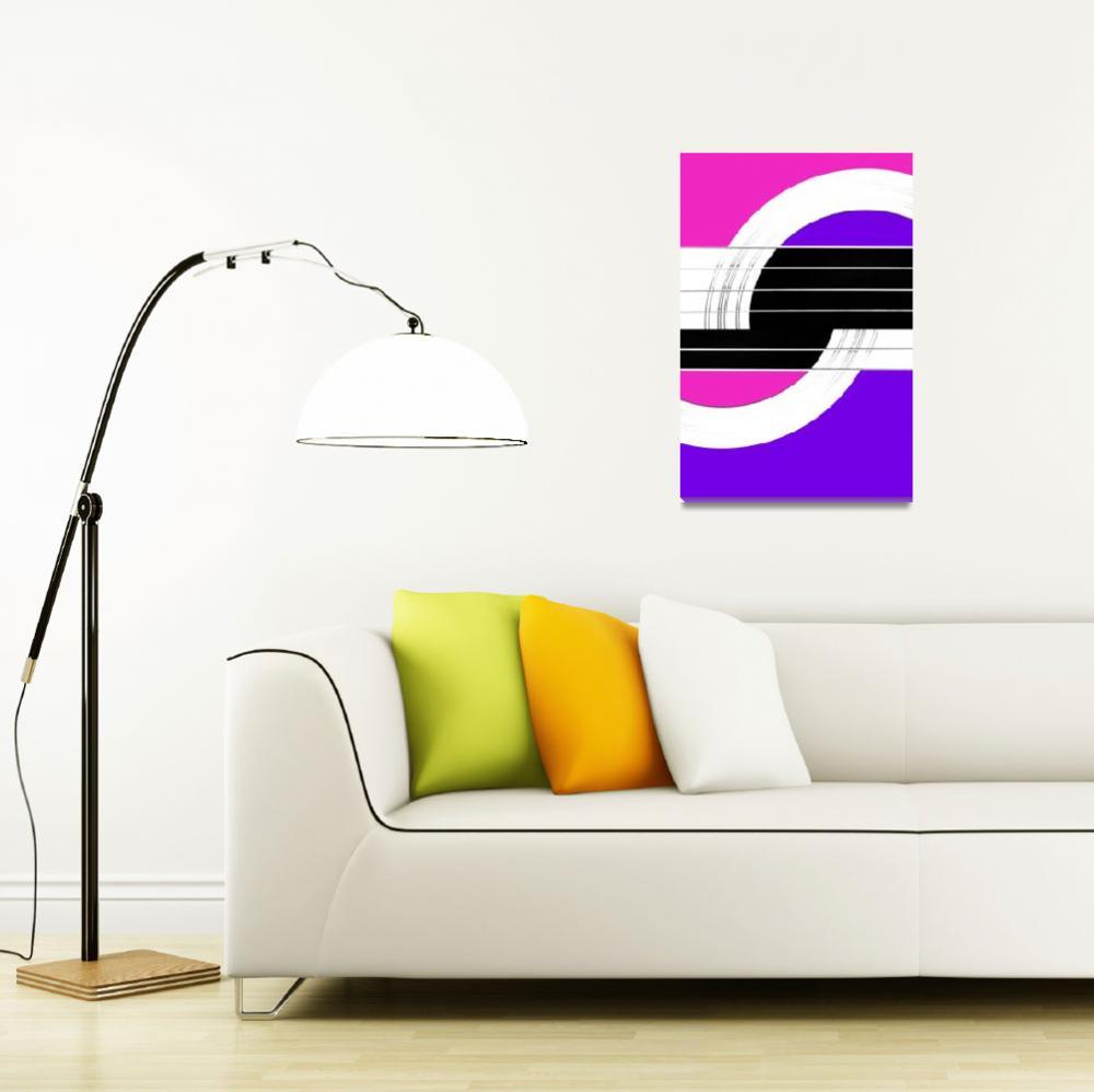 """Geometric Guitar Abstract II in Pink and Purple""  (2013) by NatalieKinnear"