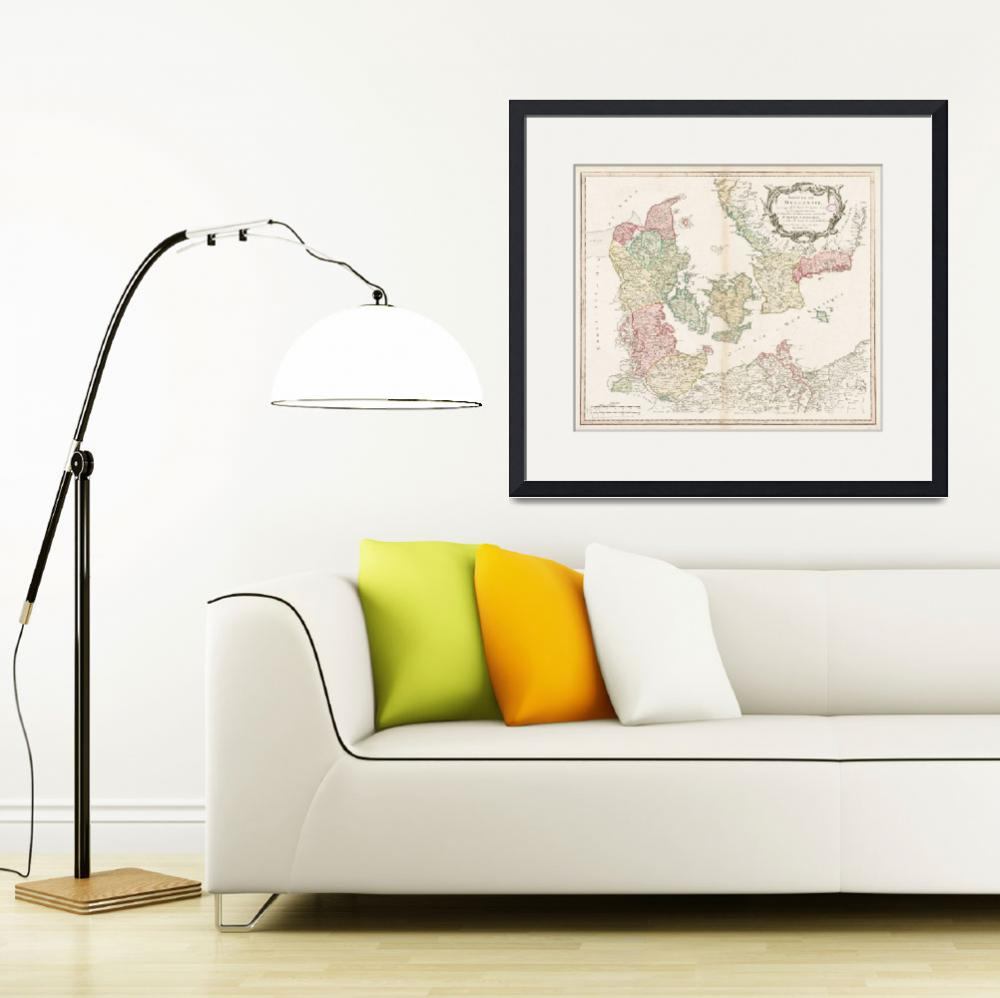 """""""Vintage Map of Denmark (1750)&quot  by Alleycatshirts"""