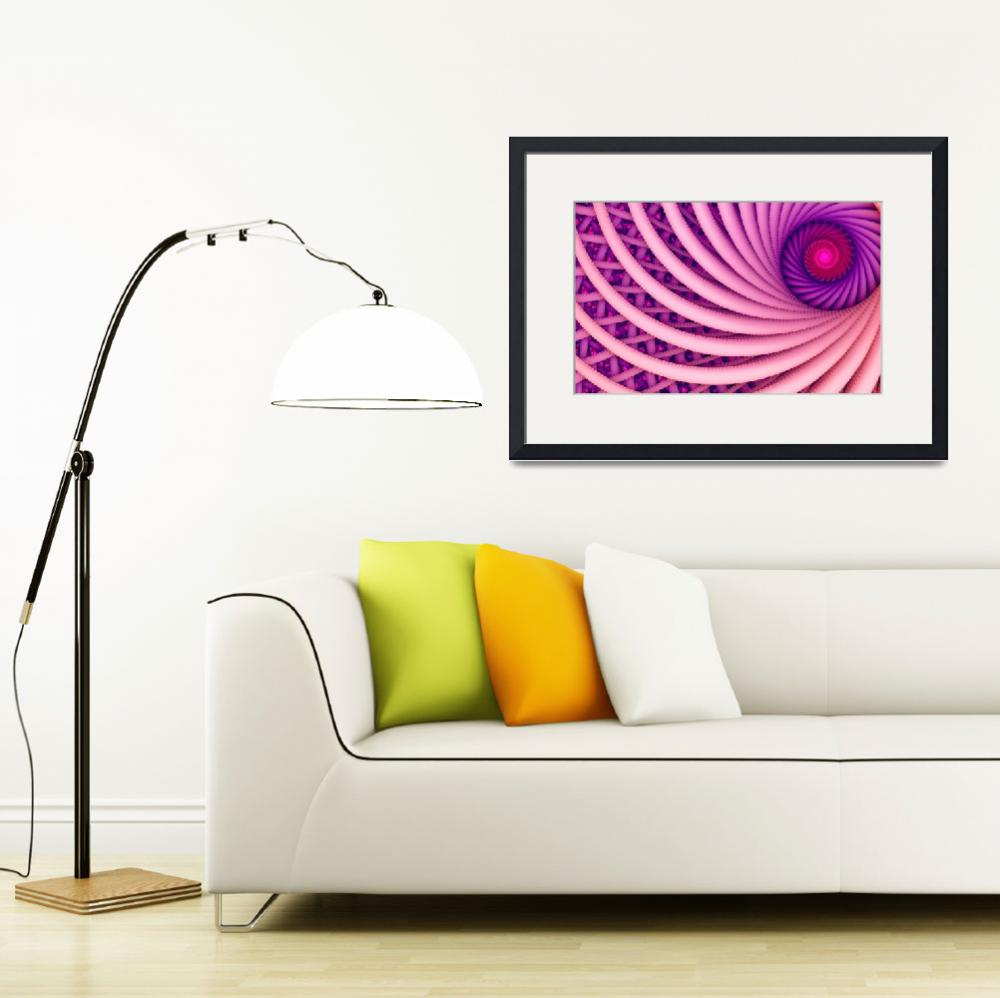 """""""Abstract fantasy swirl tunnel with pink and purple&quot  (2016) by oksaprint"""