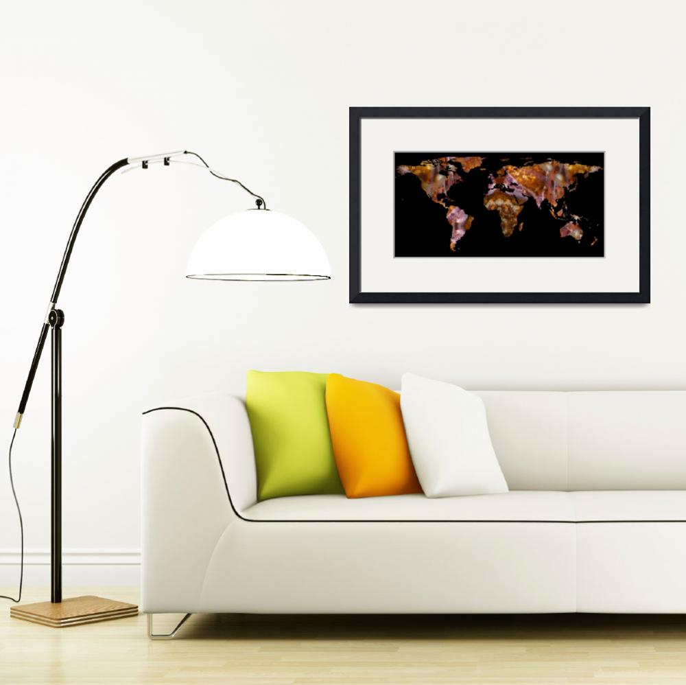 """""""World Map Silhouette - Eel Photographic Mandala&quot  by Alleycatshirts"""