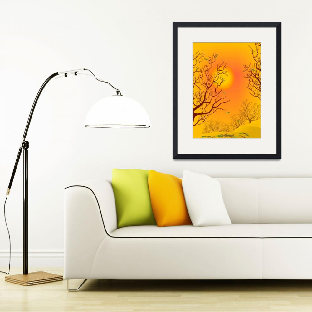"""""""Tree at sunset&quot  (2009) by digitalpainting"""
