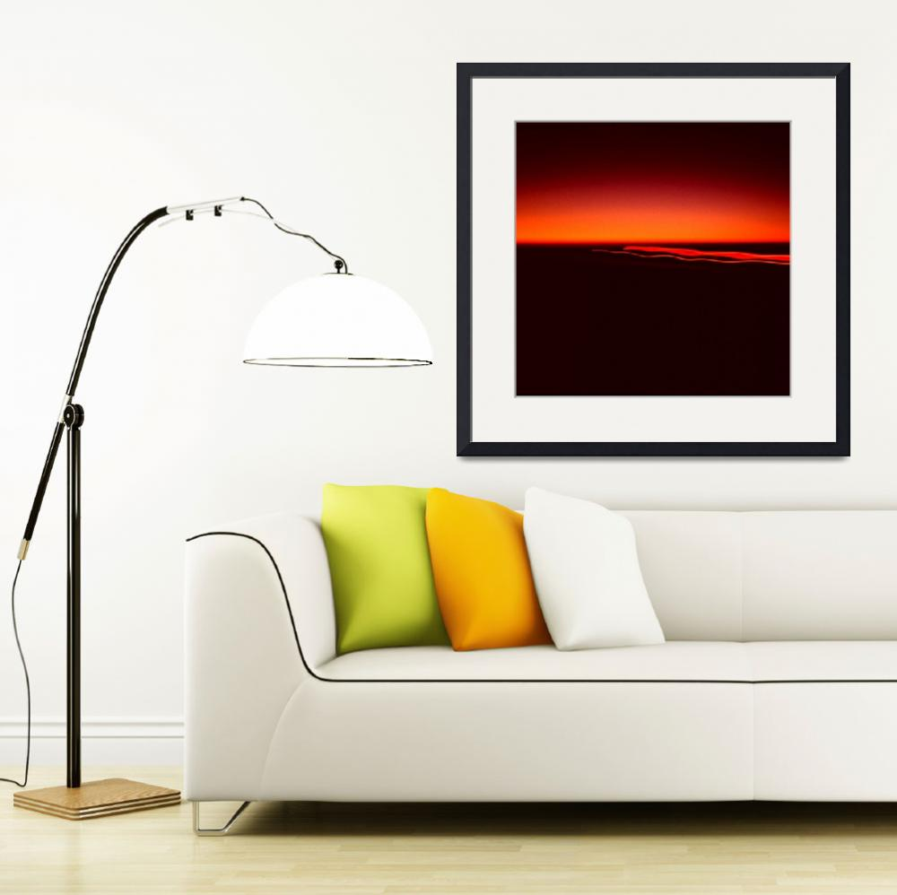 """""""Night Lights Sunset Four Red Lights 8702 A 008 Squ&quot  (2014) by WestwoodPrints"""