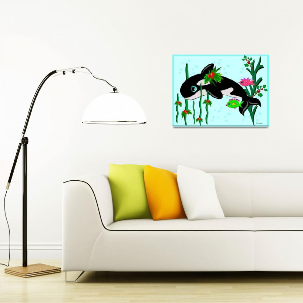 """""""Christmas Orca with Fish Friends""""  (2011) by theblueplanet"""