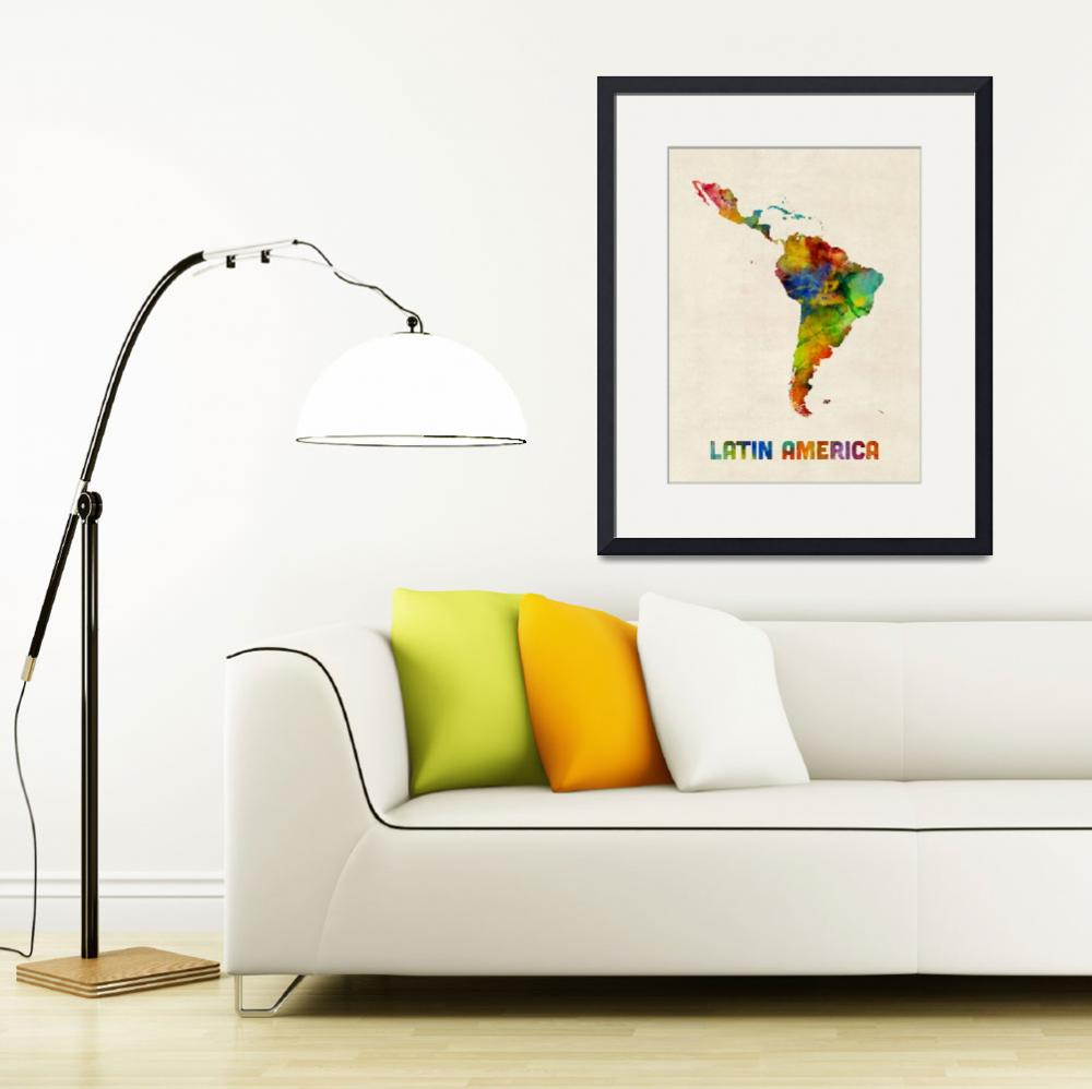 """""""South America Watercolor Map&quot  (2017) by ModernArtPrints"""