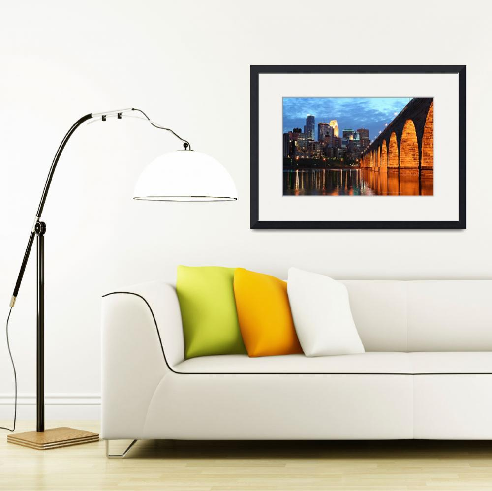 """Minneapolis Skyline Photography Stone Arch Bridge""  (2006) by WaynePhotoGuy"